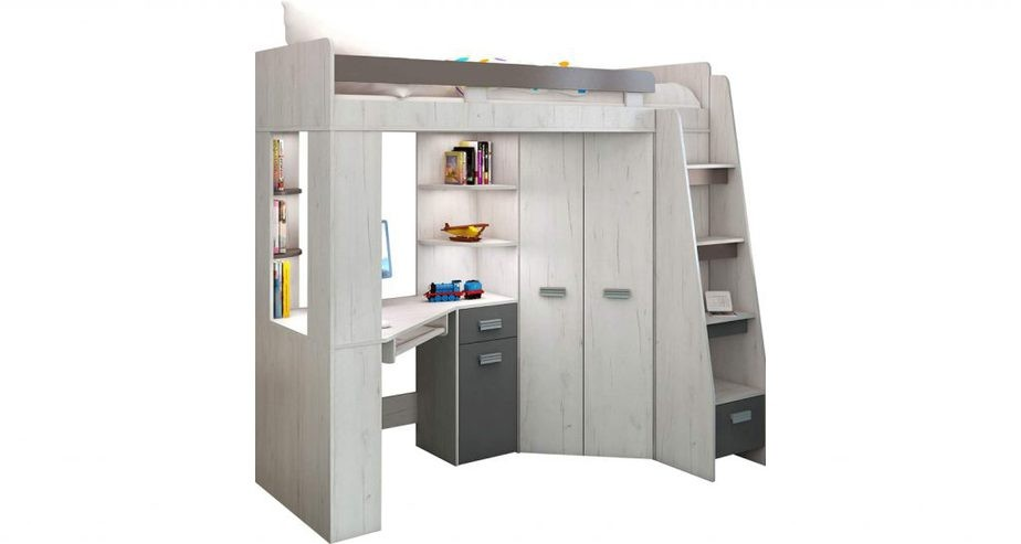 high sleeper bunk bed with desk underneath