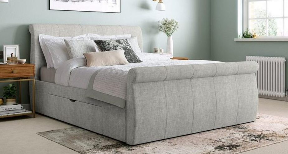 lucia upholstered sleigh bed