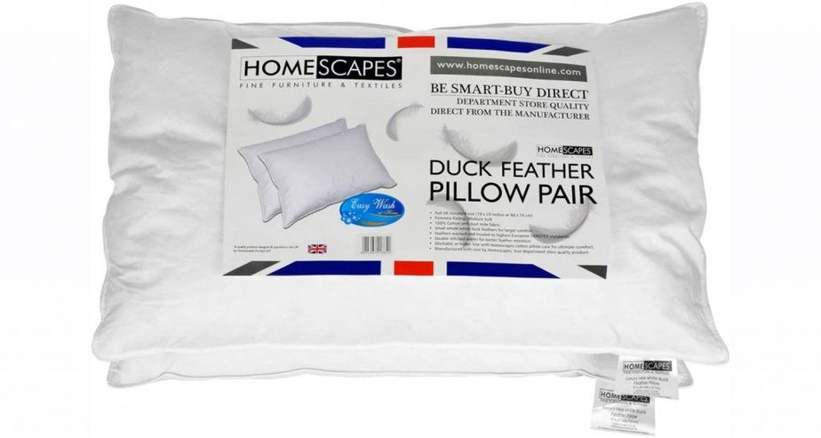HOMESCAPES White Duck Feather Pillows